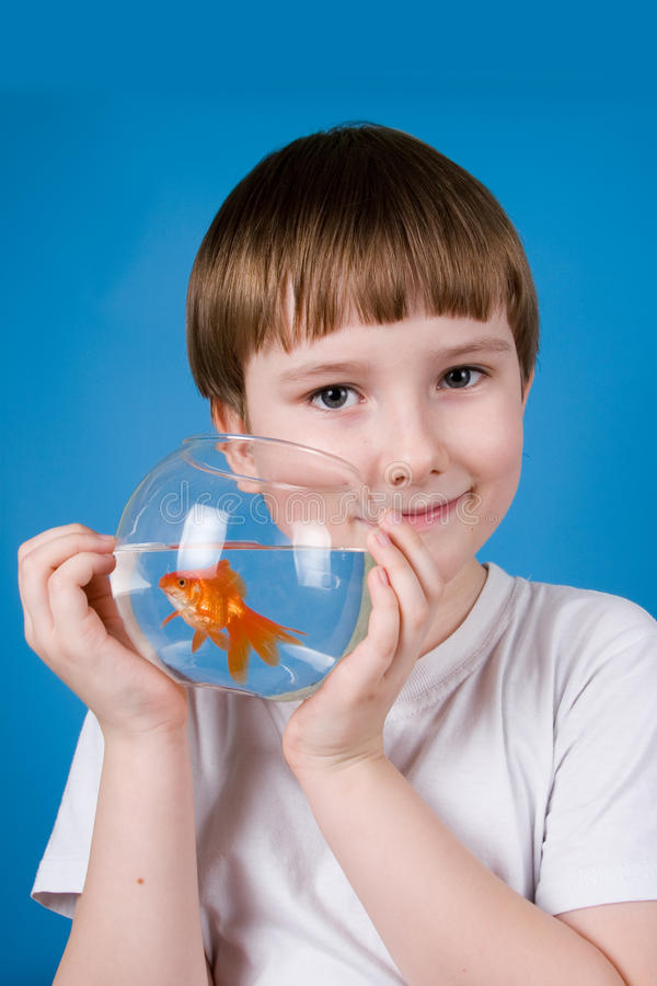 Download Boy Holds A Fishbowl With A Goldfish Stock Photo - Image of learning, wonder: 24182208