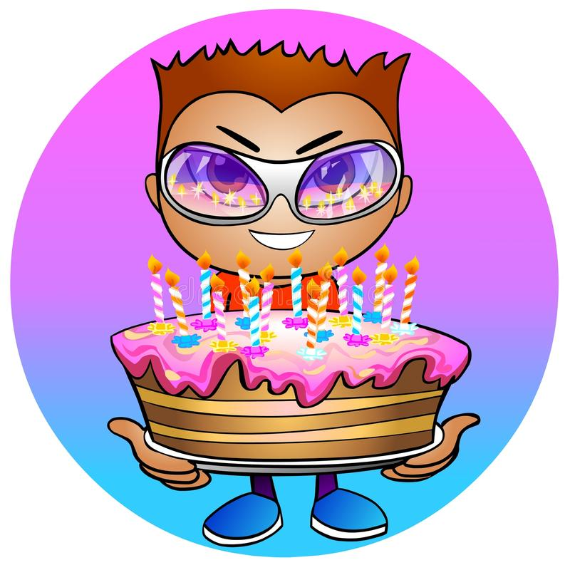Download Boy Holds In Hands A Birthday Cake Stock Illustration - Image: 14667786