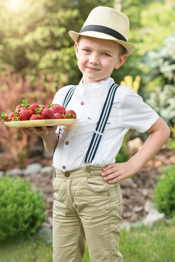 A boy holds a plate of ripe aromatic strawberry. royalty free stock photos