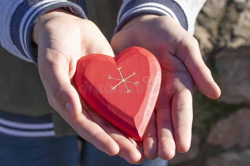 A boy holds and shows a wooden red heart in his hand, being in a park among trees on a sunny Day royalty free stock photos