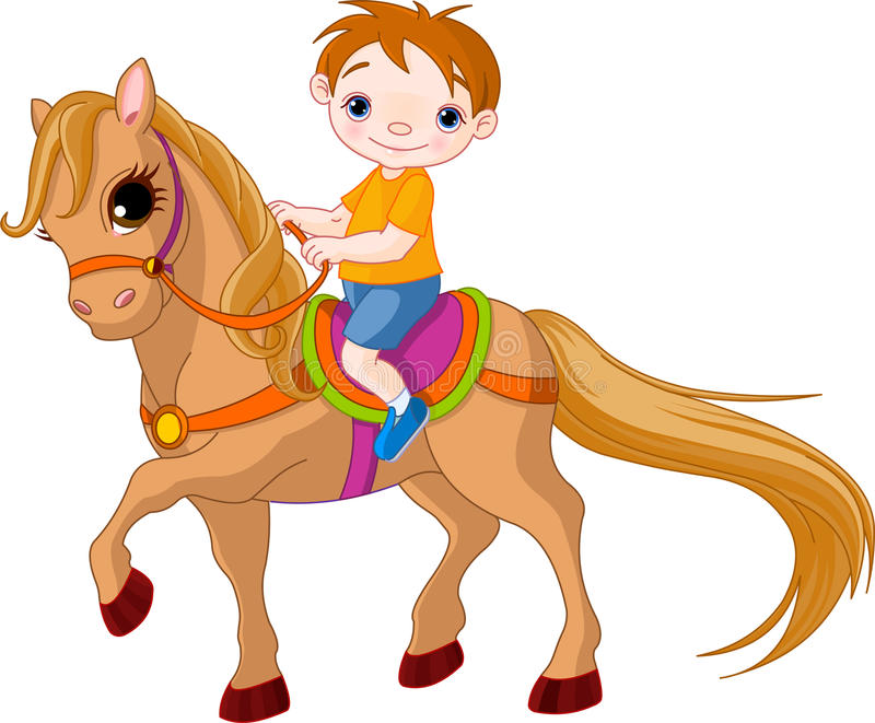 Boy on horse. Cute little Boy riding on a horse stock illustration
