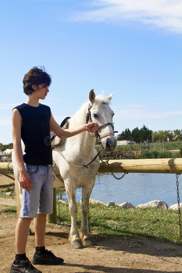 Boy with horse stock photography