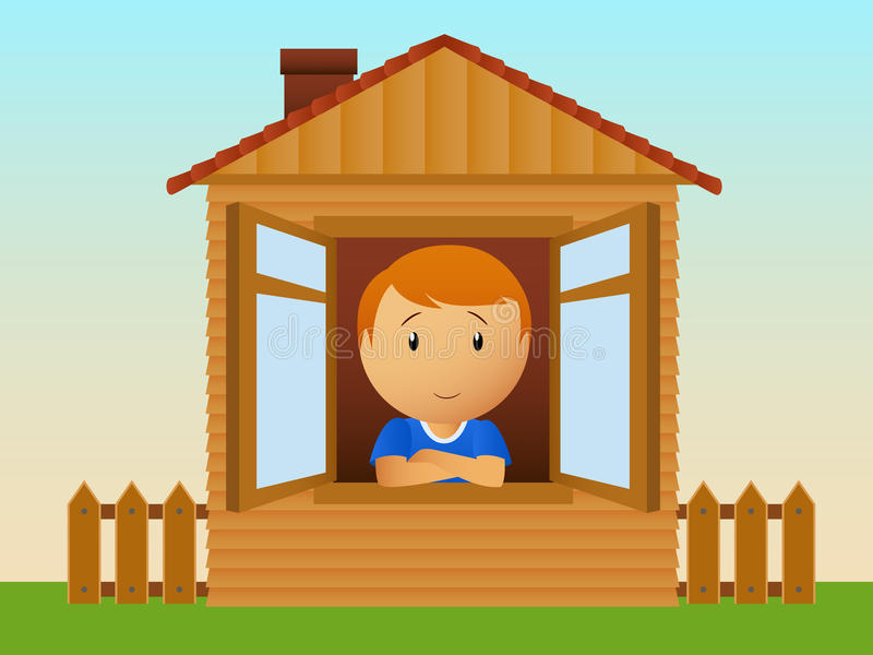 Download Boy in the house stock vector. Illustration of fence - 15823416