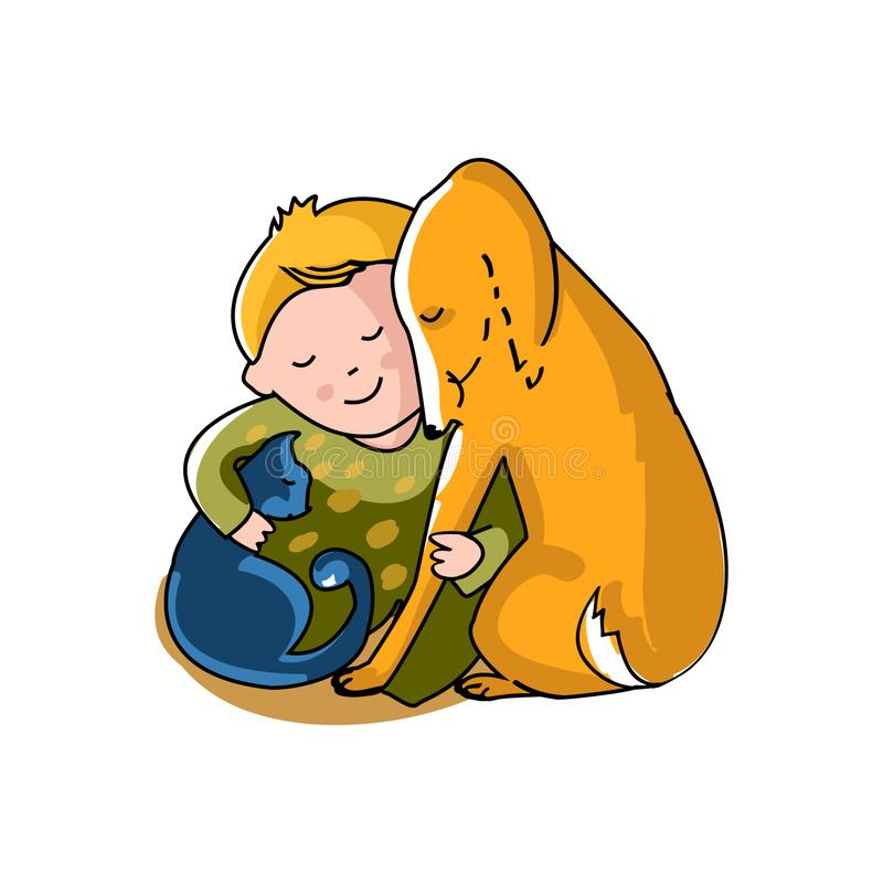 Boy hugs cat and dog royalty free illustration