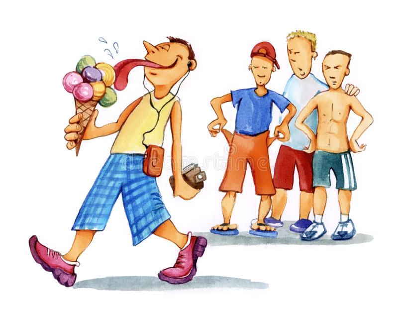 Boy with icecreams and kids looking royalty free illustration