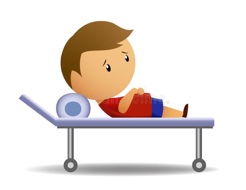 Boy ill on medic barrow. Vector illustration of ill boy in red shirt on medic barrow stock illustration