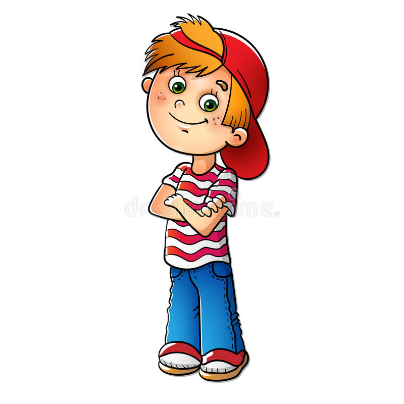 Free Boy In A Red Cap And Striped T-shirt Royalty Free Stock Photos - 60101068
