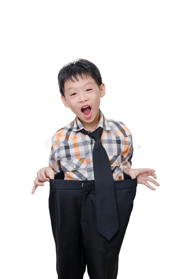 Free Boy In Big Pants Over White Royalty Free Stock Photos - 62130738