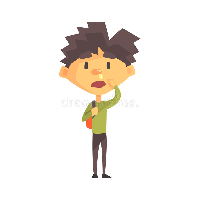 Free Boy In Green Sweater With Running Nose, Primary School Kid, Elementary Class Member, Isolated Young Student Character Royalty Free Stock Image - 89437076
