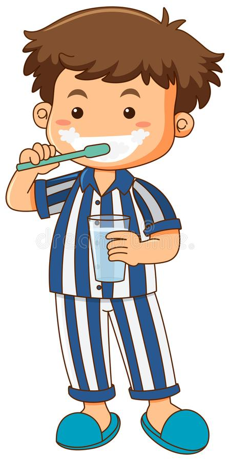 Free Boy In Pajamas Brushing Teeth Stock Photos - 108799253