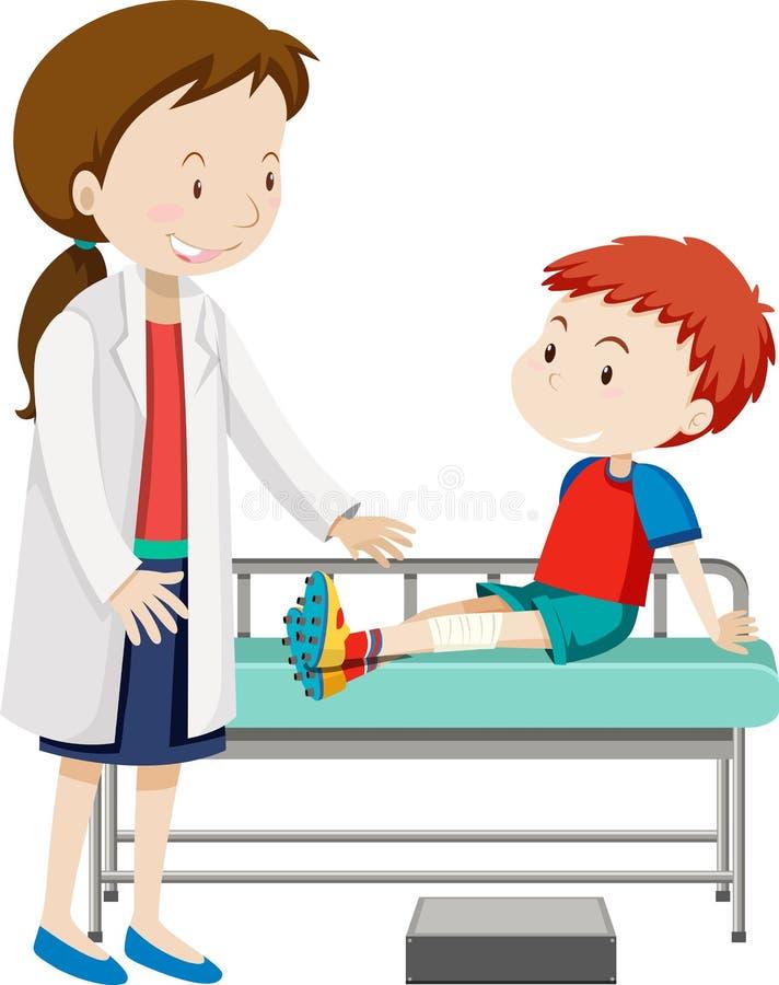 A boy injured leg. Illustration royalty free illustration