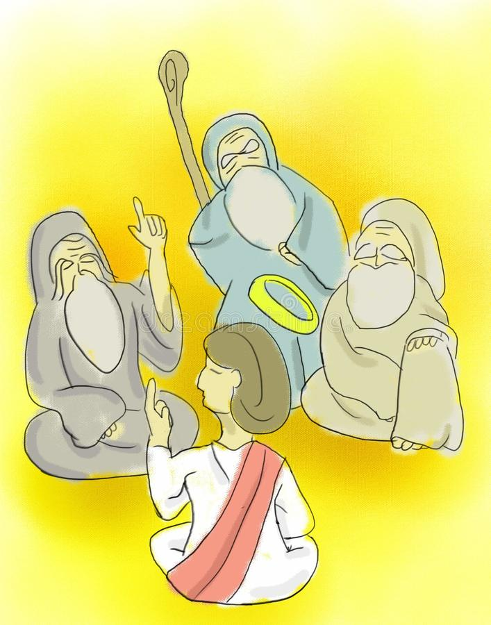 The Boy Jesus At The Temple. Young Jesus teaches in the temple stock illustration