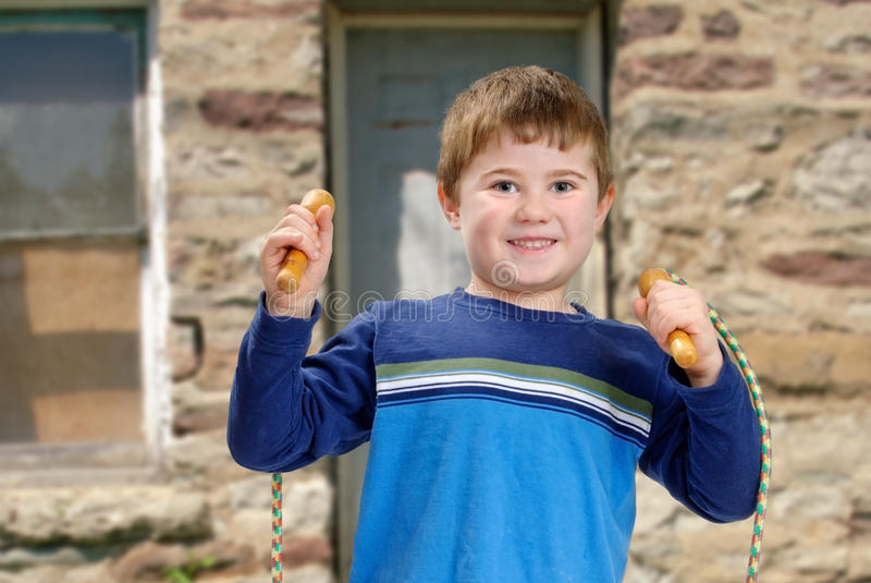 Boy with Jump Rope stock images