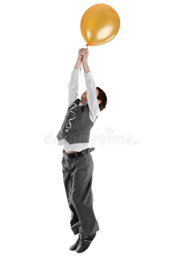 Download Boy jumping from a balloon stock image. Image of helium - 23558477