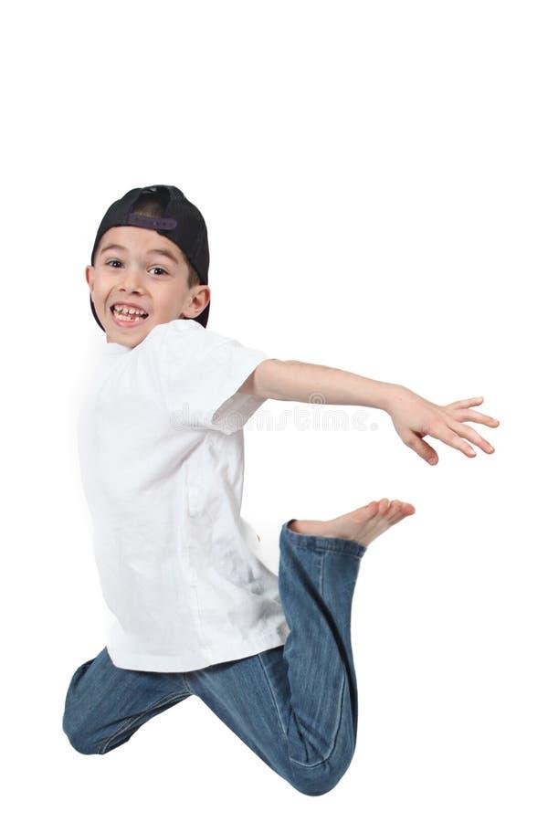 Boy Jumping Midair Stock Images
