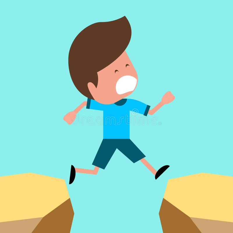 Boy jumping over the cliff. Children illustration for School books. Separate Objects royalty free illustration