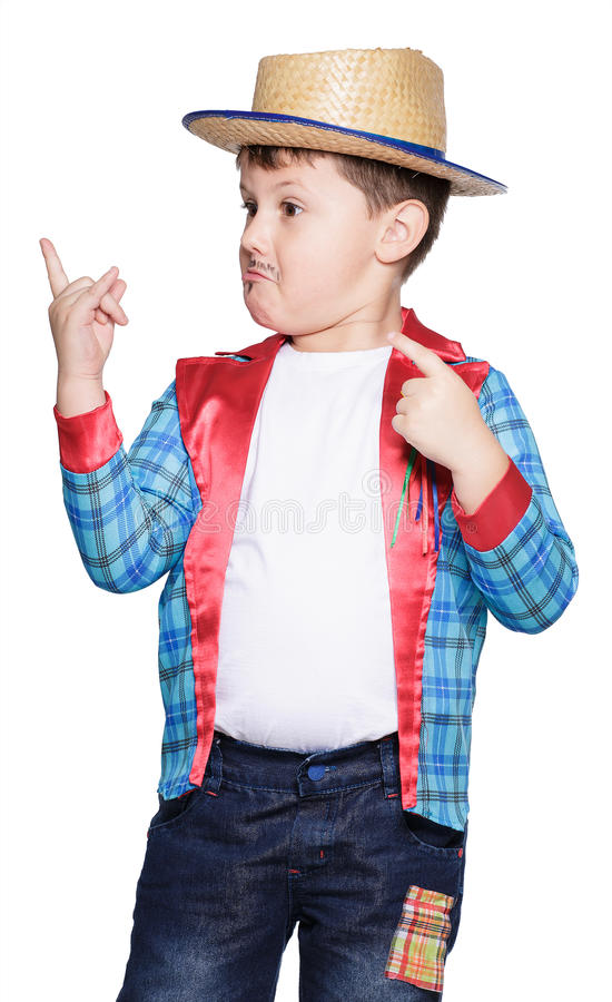 Boy for June festival. Brazilian typical festival which takes place in July stock photos