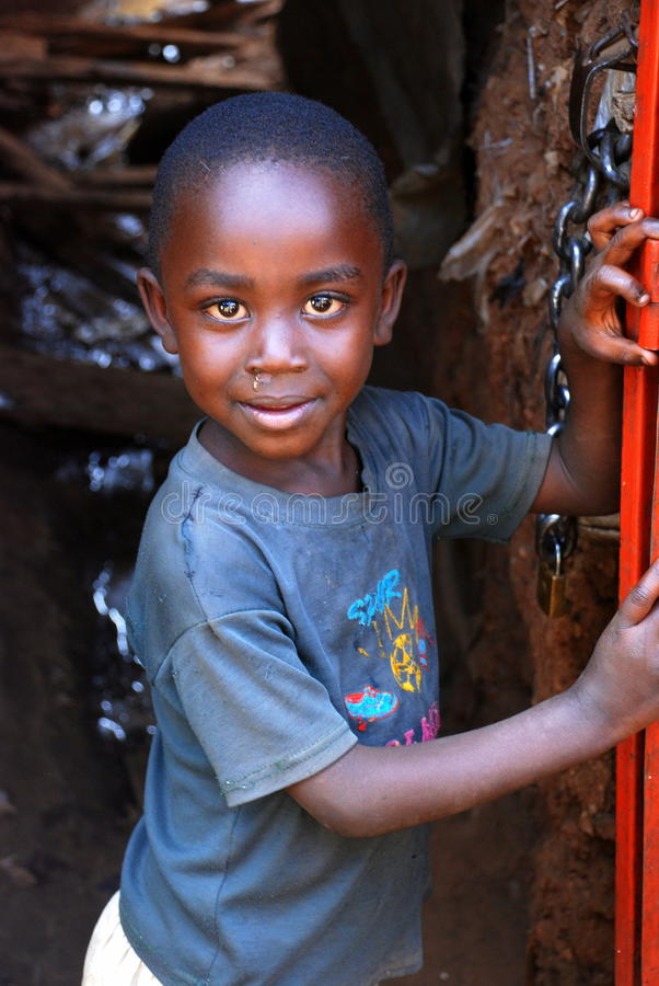Boy in Kibera stock photos