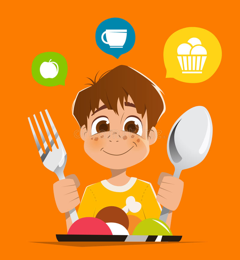Boy kid child holding spoon and fork eating meal dish. Happy smile boy kid child holding spoon and fork eating meal dish vector illustration