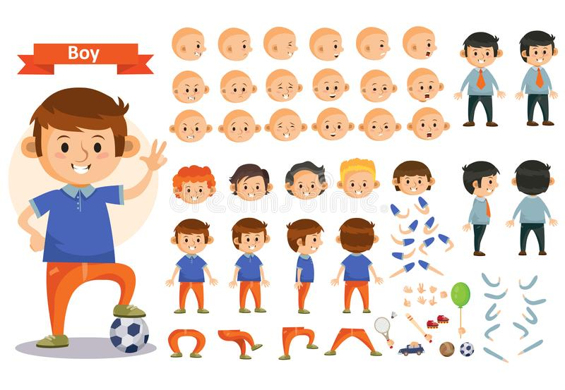 Boy kid playing football and toys vector cartoon child character constructor body parts icons. Boy kid playing football and toys vector cartoon child character vector illustration