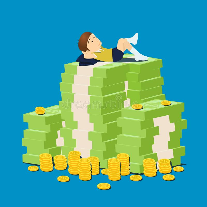 Boy kid with stack money and coins. stock illustration