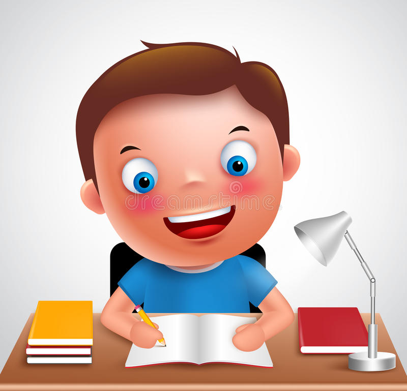 Boy kid vector character happy studying and doing school homework. In the desk holding pencil and books. Vector illustration stock illustration