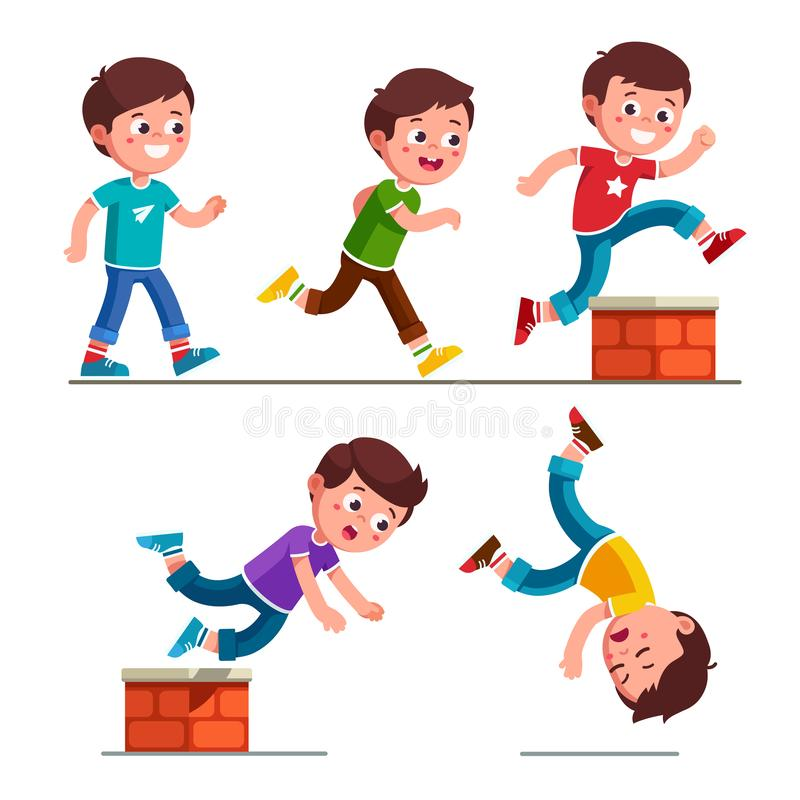 Boy kid walking, running, jumping and falling down stock illustration
