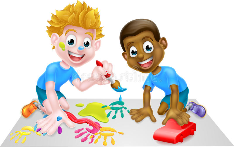 Boy Kids Playing With Toy Car and Paints. Cartoon boys playing with toys, one black one white, with paintbrush paints and toy red car stock illustration