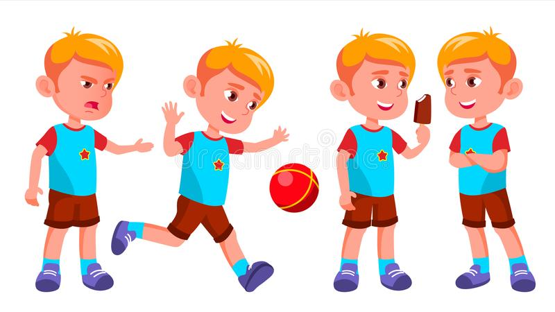 Boy Kindergarten Kid Poses Set Vector. Kiddy, Child Expression. Junior. For Postcard, Cover, Placard Design. Isolated. Boy Kindergarten Kid Poses Set Vector royalty free illustration