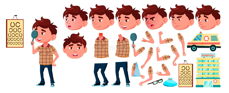 Boy Kindergarten Kid Vector. Animation Set. Emotions, Gestures. Hospital, Doctor, Disease, Sight, Fracture, Virus, Cough. Boy Kindergarten Kid Vector. Animation vector illustration