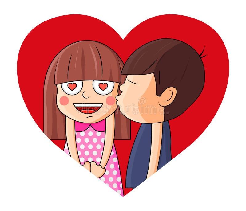 Boy kissing girl on heart.Valentine vector illustration. stock illustration