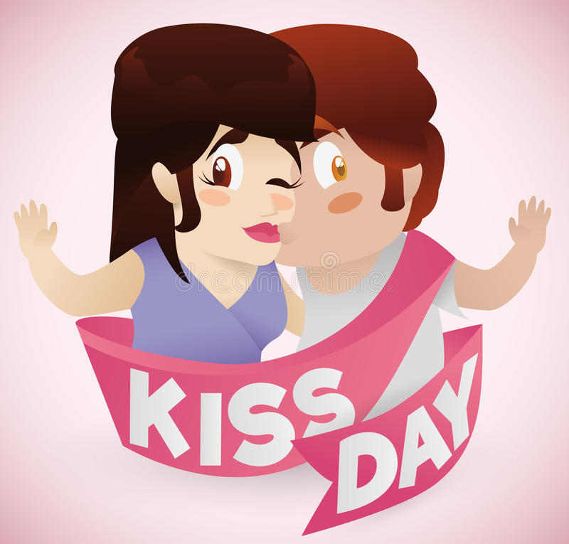 Boy Kissing his Girlfriend with Kiss Day Ribbon, Vector Illustration stock images