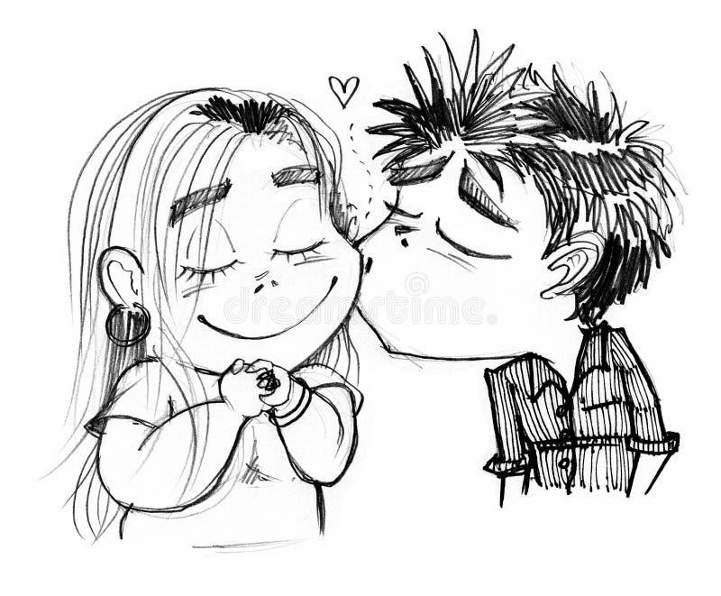 Boy kissing pretty girl cartoon vector illustration