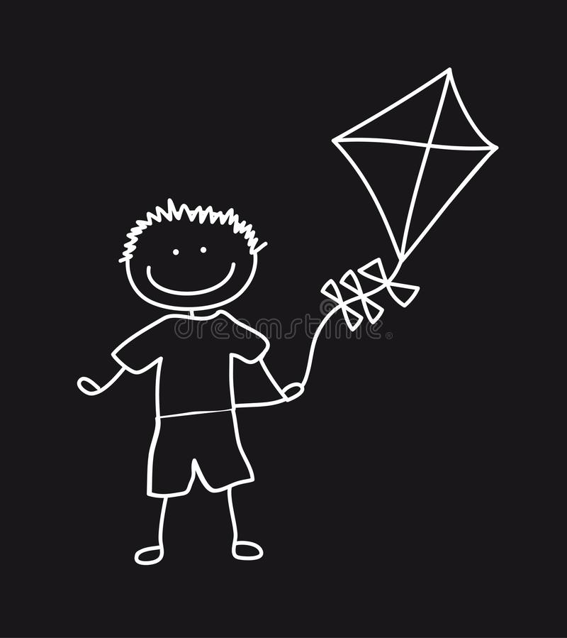 Download Boy with kite stock vector. Image of kite, drawing, little - 23687971