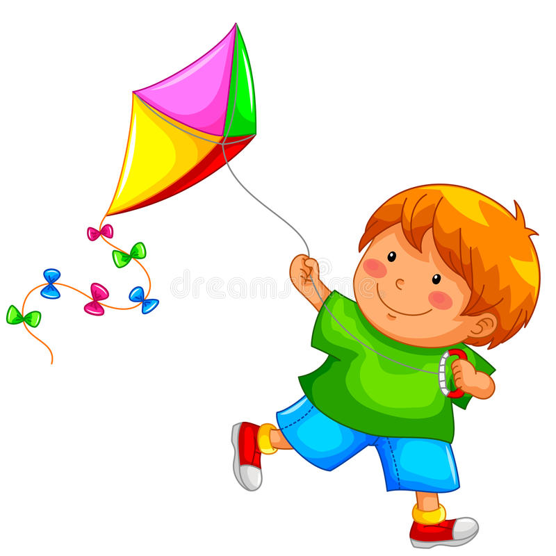 Boy and kite. Little boy running happily with his kite stock illustration
