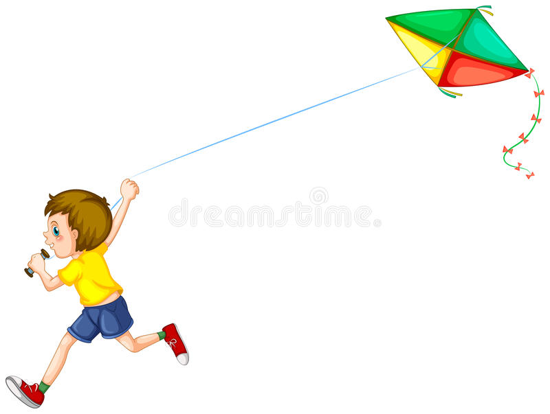 Boy and kite royalty free illustration