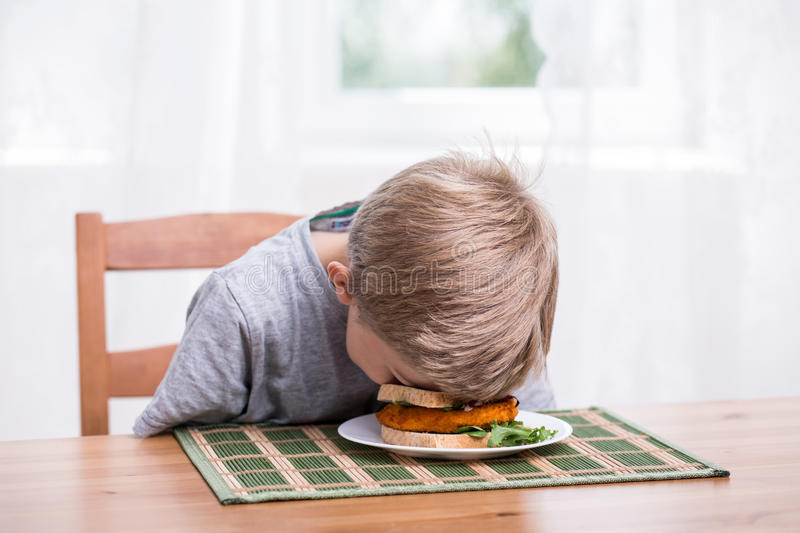 Boy landing face in food. Boy falling asleep and landing face in food royalty free stock photography
