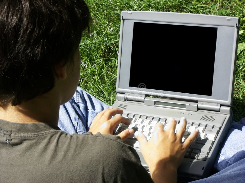 Boy and laptop#2 stock image