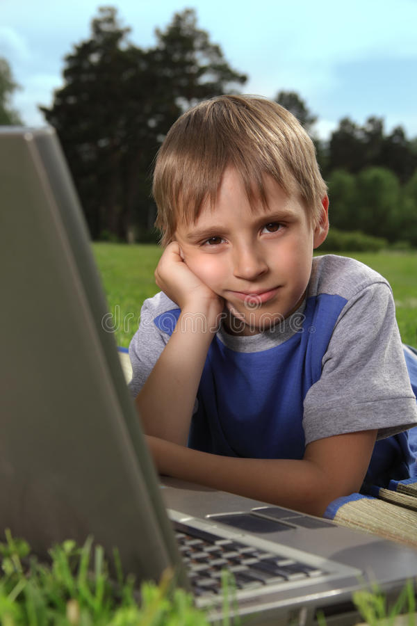 Download Boy with laptop stock photo. Image of computer, happy - 20012960