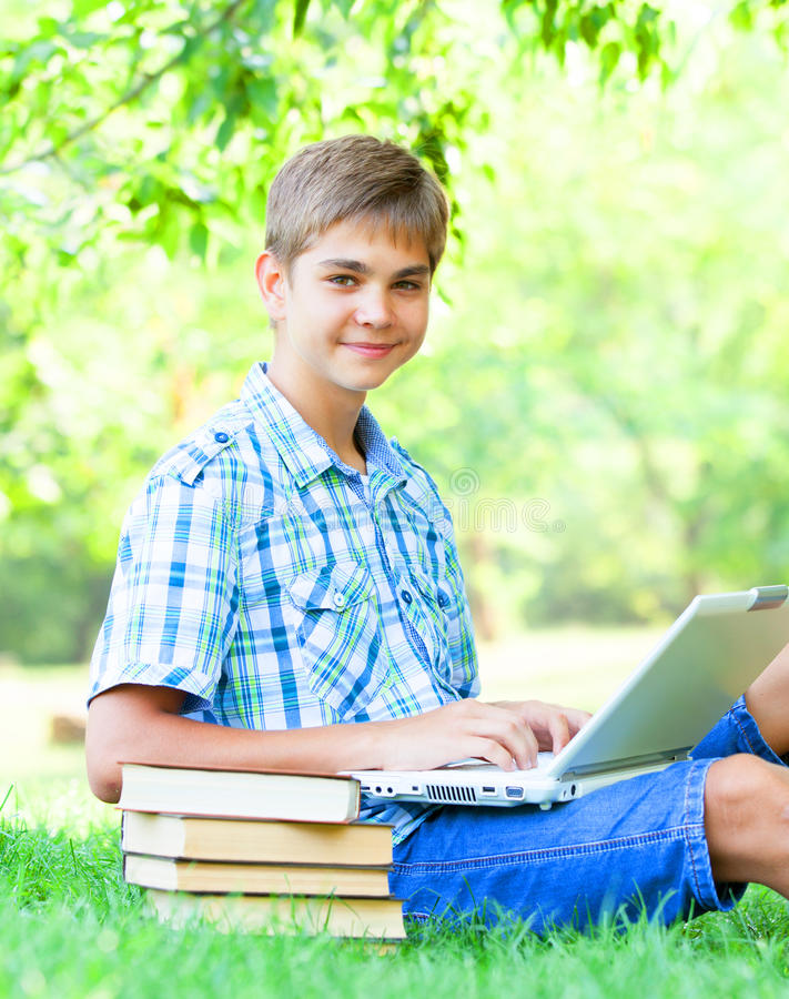 Boy With Laptop Royalty Free Stock Image