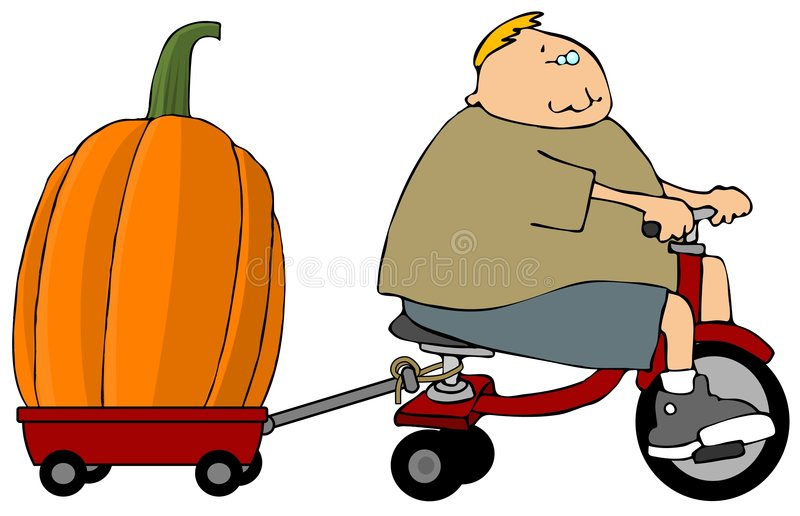 Boy With A Large Pumpkin royalty free illustration