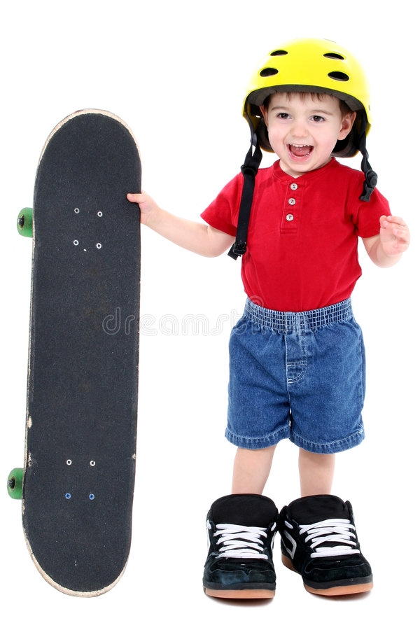 Download Boy In Large Shoes With Helmet And Skateboard Over White Stock Photo - Image of handsome, oversized: 142928