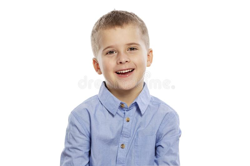 The boy laughs, close-up, isolated on white background royalty free stock photos