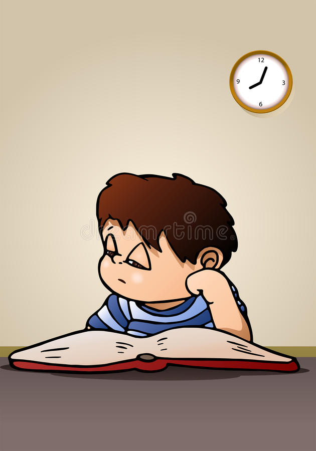 Boy lazy to study. Illustration of a boy lazy to study reading a book on room background vector illustration