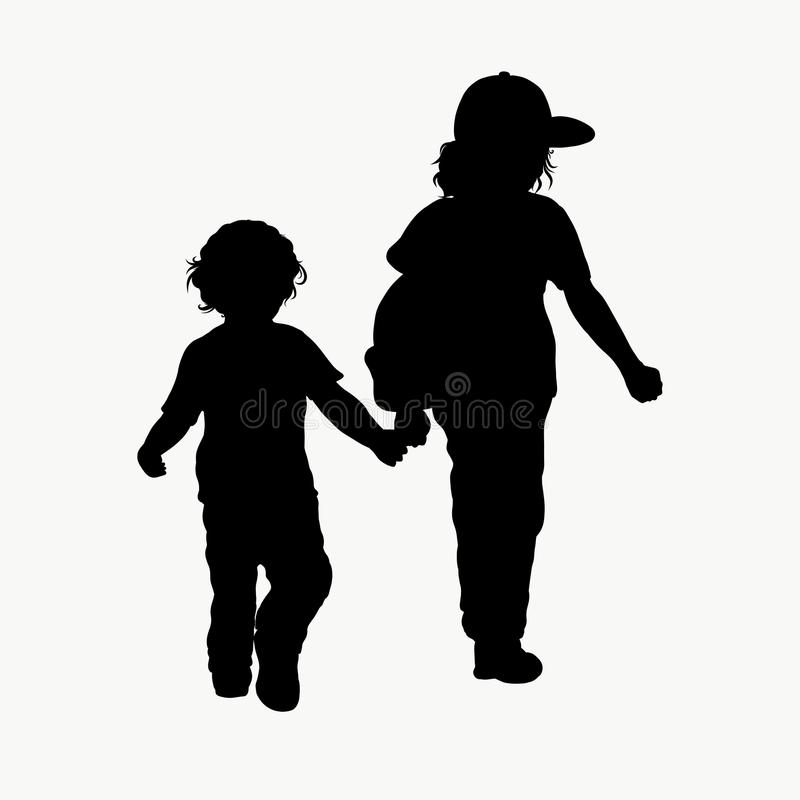 The boy leading the baby.  stock illustration