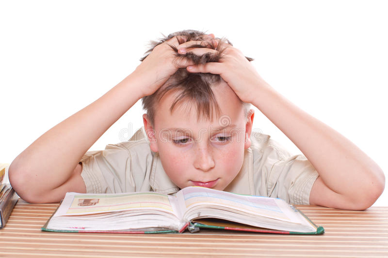 Boy Learns Lessons Stock Photo