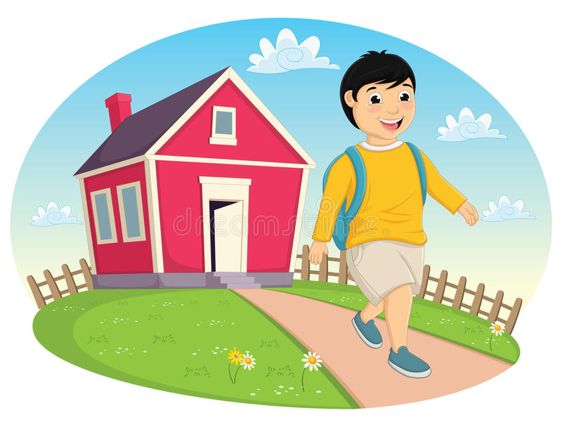 Boy Leaving Home Vector Illustration royalty free illustration
