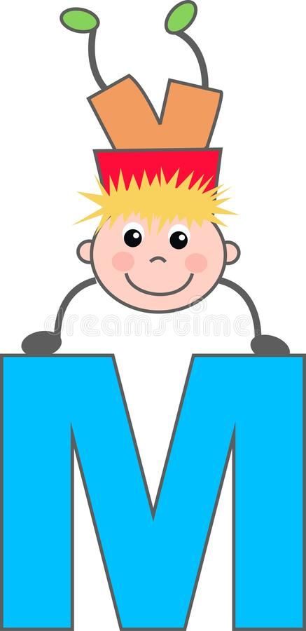 A boy with letter M stock photo
