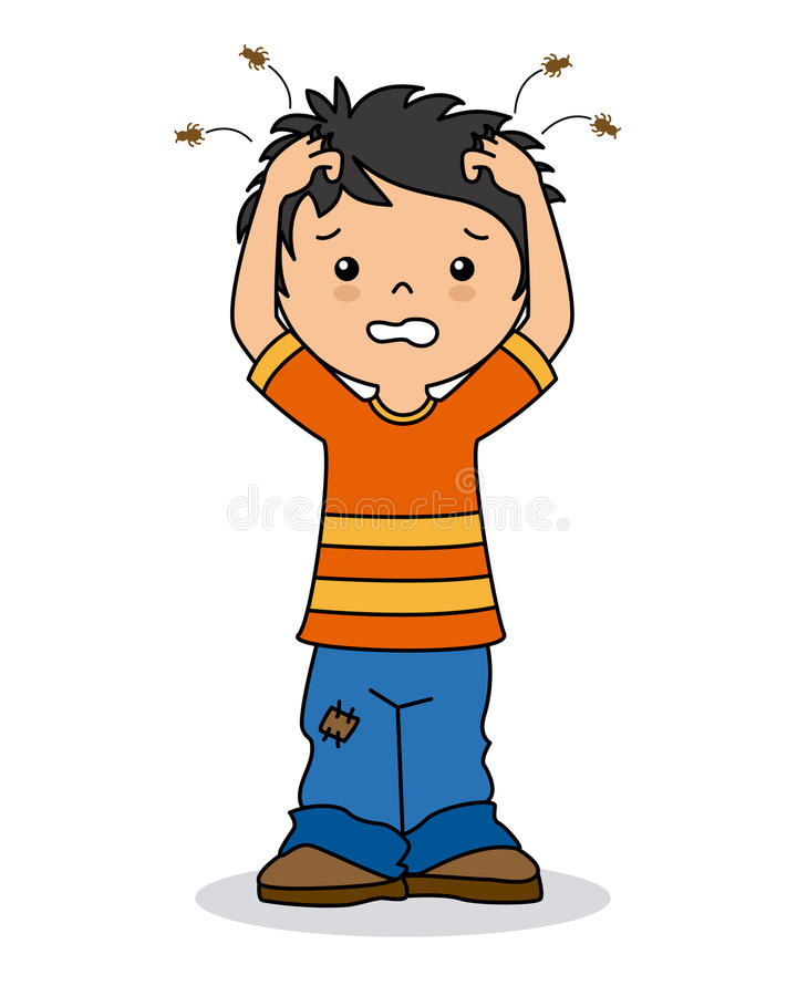 Boy with lice vector illustration