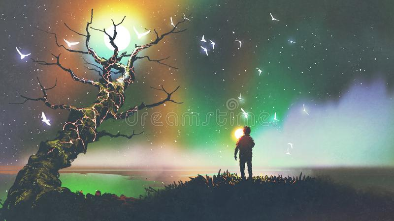 Boy with the light ball looking at fantasy tree vector illustration